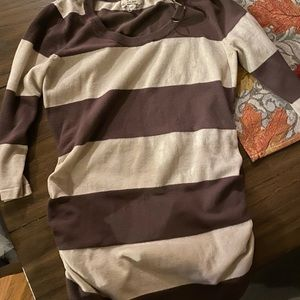 Brown and cream stripped top